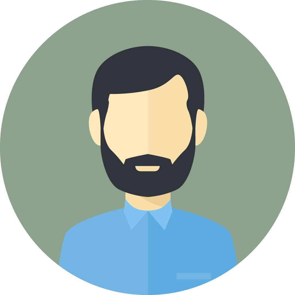 man with black hair and beard icon